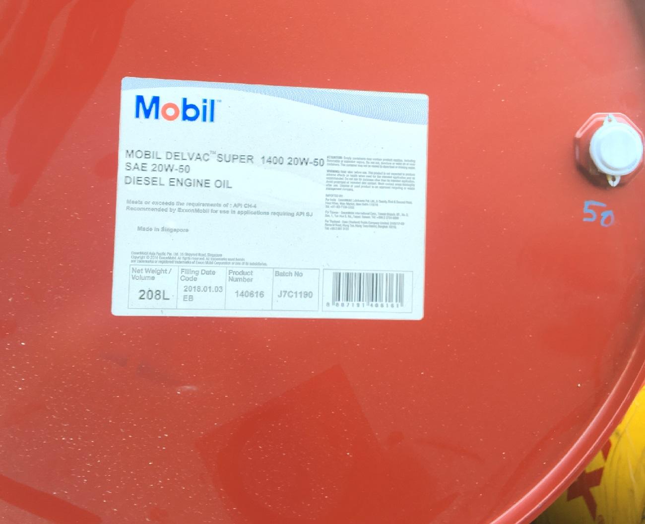 Giá Dầu động cơ Mobil Delvac Super 1400 20W50 Phuy 208l